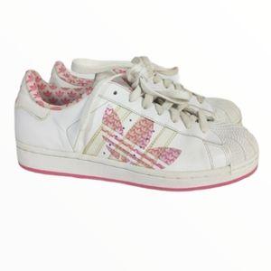 Adidas Superstars white and Pink